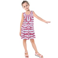 Skin2 White Marble & Pink Denim (r) Kids  Sleeveless Dress by trendistuff
