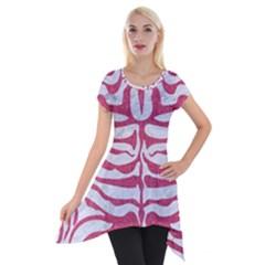 Skin2 White Marble & Pink Denim (r) Short Sleeve Side Drop Tunic