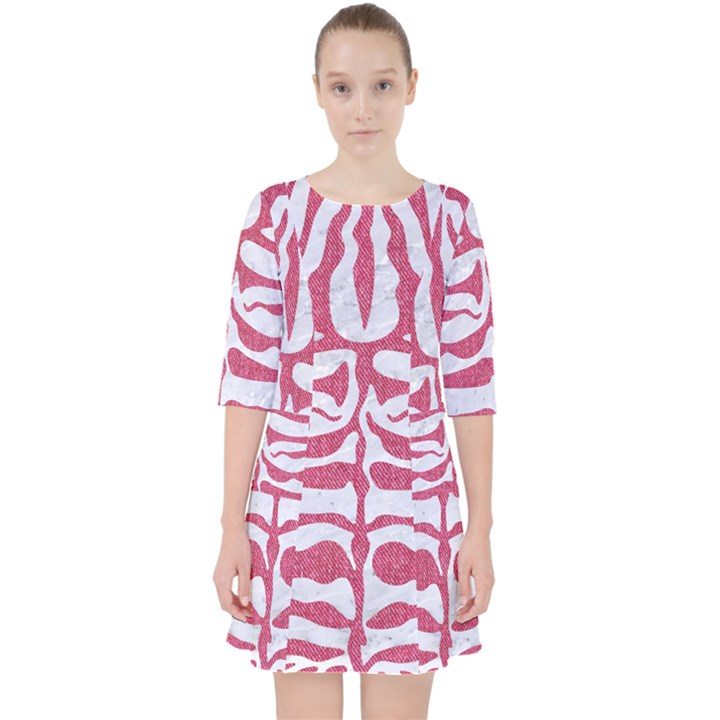 SKIN2 WHITE MARBLE & PINK DENIM (R) Pocket Dress