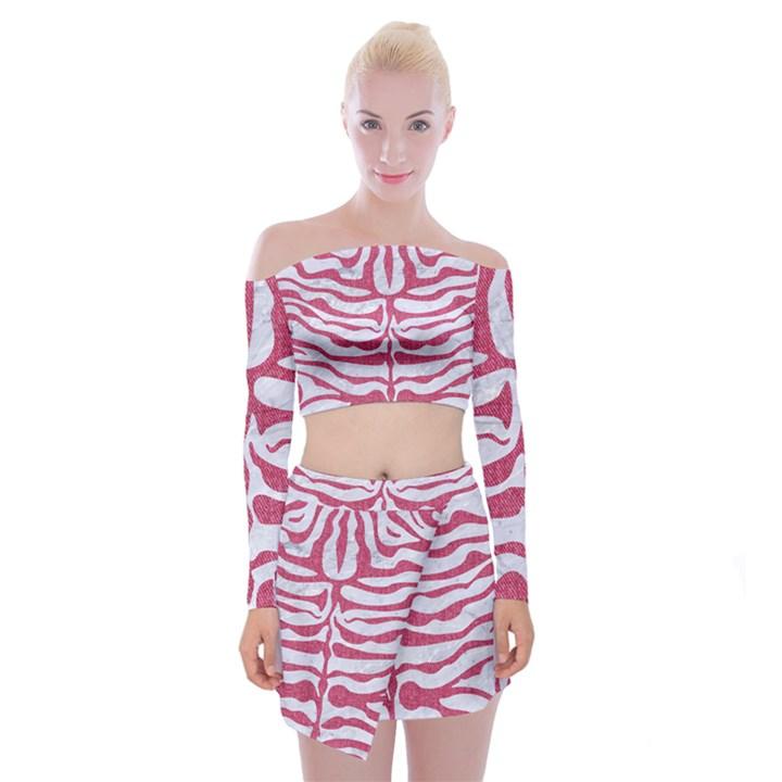 SKIN2 WHITE MARBLE & PINK DENIM (R) Off Shoulder Top with Mini Skirt Set