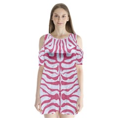 Skin2 White Marble & Pink Denim (r) Shoulder Cutout Velvet One Piece by trendistuff