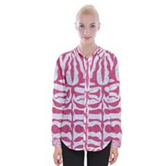Skin2 White Marble & Pink Denim (r) Womens Long Sleeve Shirt
