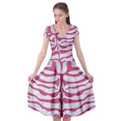 Skin2 White Marble & Pink Denim (r) Cap Sleeve Wrap Front Dress