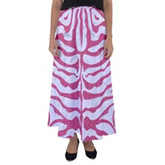 Skin2 White Marble & Pink Denim (r) Flared Maxi Skirt