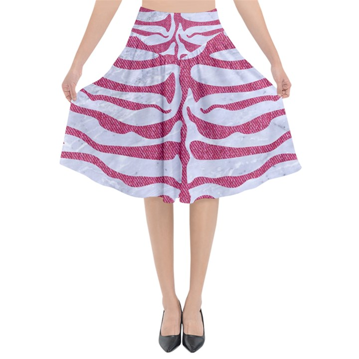 SKIN2 WHITE MARBLE & PINK DENIM (R) Flared Midi Skirt