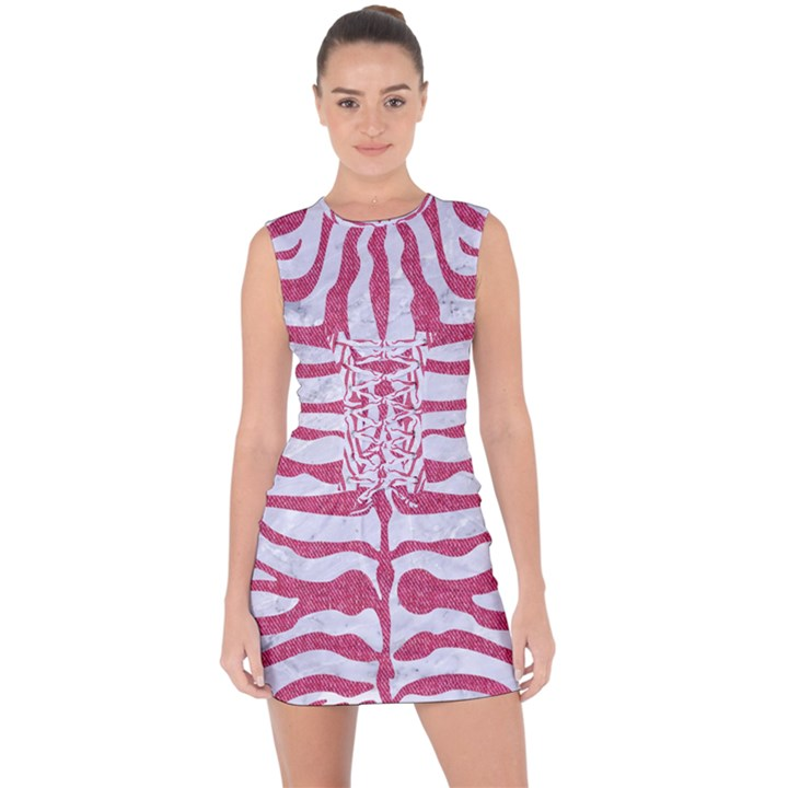 SKIN2 WHITE MARBLE & PINK DENIM (R) Lace Up Front Bodycon Dress