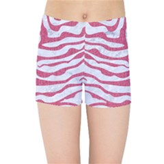 Skin2 White Marble & Pink Denim (r) Kids Sports Shorts