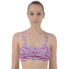 Skin2 White Marble & Pink Denim (r) Line Them Up Sports Bra by trendistuff