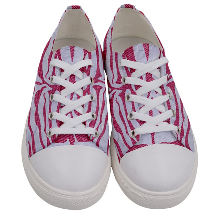 SKIN2 WHITE MARBLE & PINK DENIM (R) Women s Low Top Canvas Sneakers