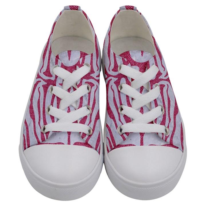 SKIN2 WHITE MARBLE & PINK DENIM (R) Kids  Low Top Canvas Sneakers