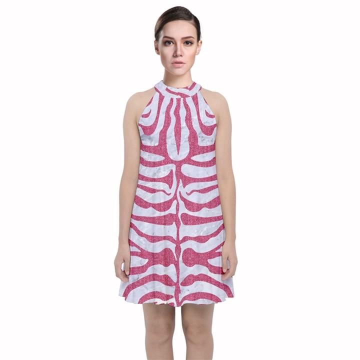 SKIN2 WHITE MARBLE & PINK DENIM (R) Velvet Halter Neckline Dress