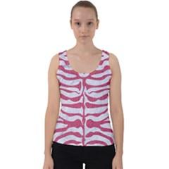 Skin2 White Marble & Pink Denim (r) Velvet Tank Top