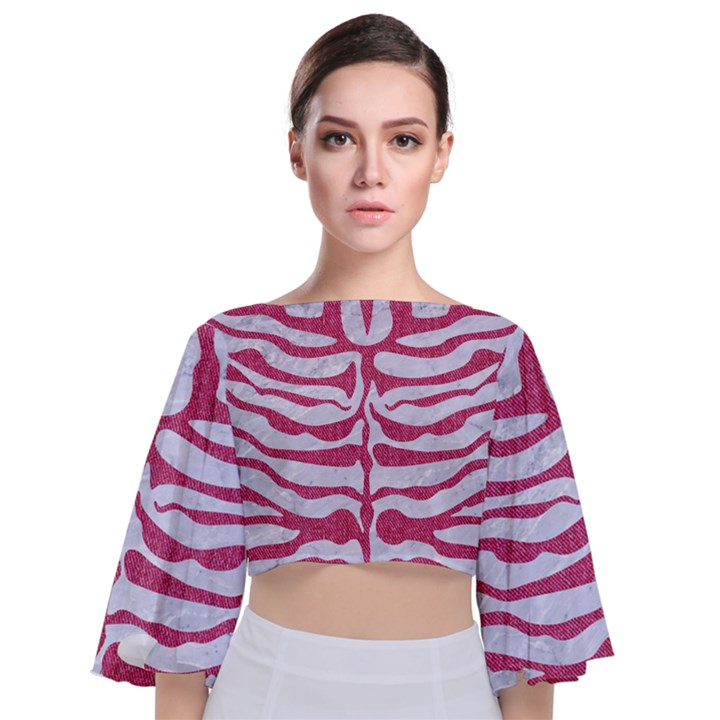 SKIN2 WHITE MARBLE & PINK DENIM (R) Tie Back Butterfly Sleeve Chiffon Top