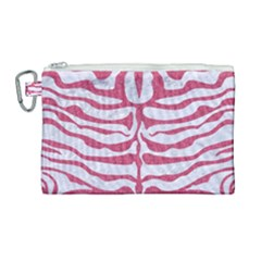 Skin2 White Marble & Pink Denim (r) Canvas Cosmetic Bag (large)