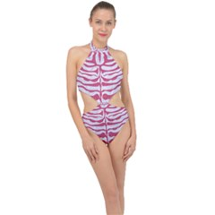 Skin2 White Marble & Pink Denim (r) Halter Side Cut Swimsuit