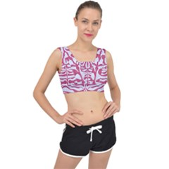 Skin2 White Marble & Pink Denim (r) V Back Sports Bra