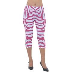 SKIN2 WHITE MARBLE & PINK DENIM (R) Lightweight Velour Capri Leggings