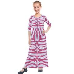 SKIN2 WHITE MARBLE & PINK DENIM (R) Kids  Quarter Sleeve Maxi Dress