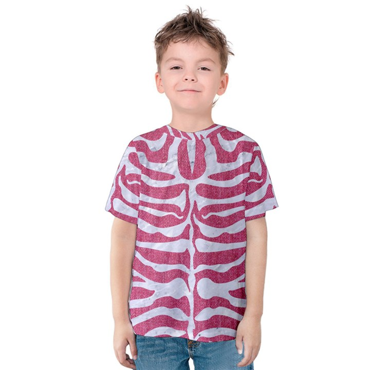 SKIN2 WHITE MARBLE & PINK DENIM Kids  Cotton Tee