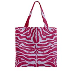 Skin2 White Marble & Pink Denim Zipper Grocery Tote Bag