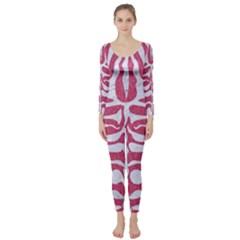 Skin2 White Marble & Pink Denim Long Sleeve Catsuit