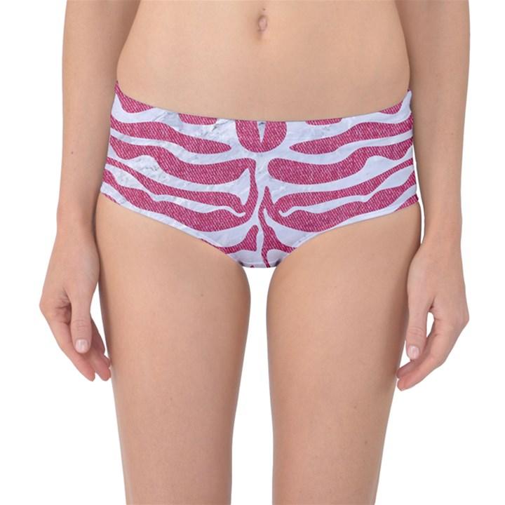 SKIN2 WHITE MARBLE & PINK DENIM Mid-Waist Bikini Bottoms