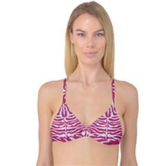 SKIN2 WHITE MARBLE & PINK DENIM Reversible Tri Bikini Top