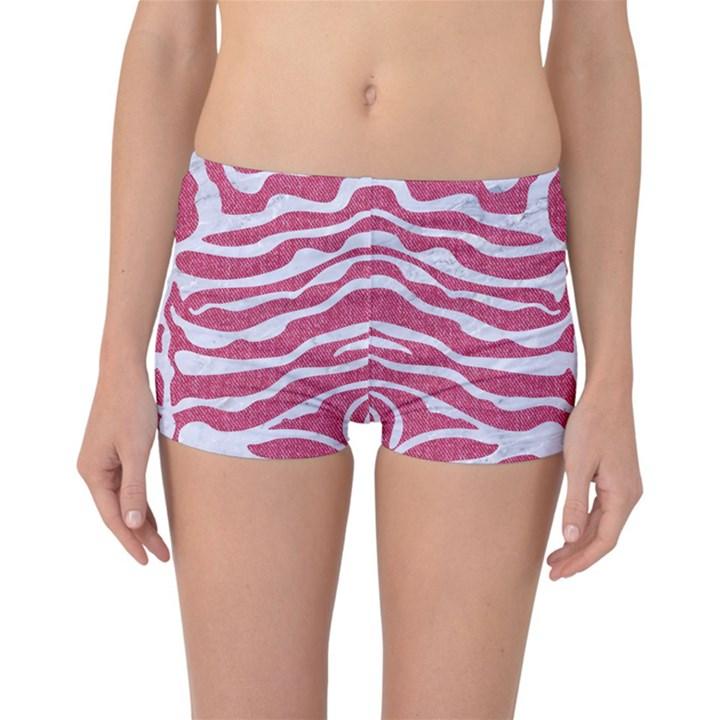 SKIN2 WHITE MARBLE & PINK DENIM Reversible Boyleg Bikini Bottoms