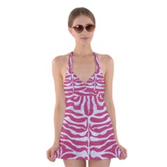 Skin2 White Marble & Pink Denim Halter Dress Swimsuit  by trendistuff