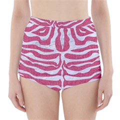 Skin2 White Marble & Pink Denim High Waisted Bikini Bottoms