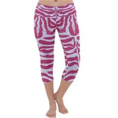 SKIN2 WHITE MARBLE & PINK DENIM Capri Yoga Leggings