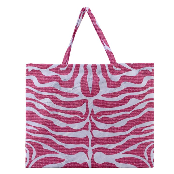 SKIN2 WHITE MARBLE & PINK DENIM Zipper Large Tote Bag