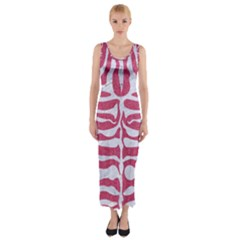 Skin2 White Marble & Pink Denim Fitted Maxi Dress by trendistuff