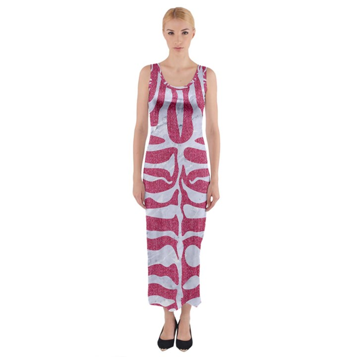 SKIN2 WHITE MARBLE & PINK DENIM Fitted Maxi Dress