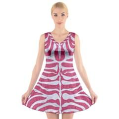 SKIN2 WHITE MARBLE & PINK DENIM V-Neck Sleeveless Dress