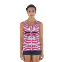 Skin2 White Marble & Pink Denim Sport Tank Top