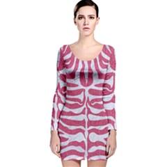 SKIN2 WHITE MARBLE & PINK DENIM Long Sleeve Velvet Bodycon Dress