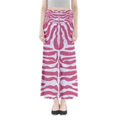 Skin2 White Marble & Pink Denim Full Length Maxi Skirt