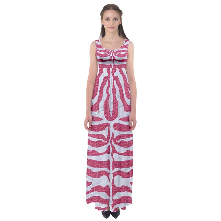 SKIN2 WHITE MARBLE & PINK DENIM Empire Waist Maxi Dress