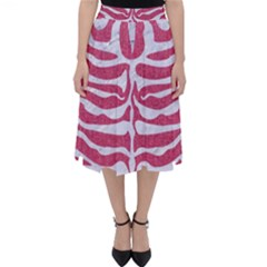 Skin2 White Marble & Pink Denim Folding Skater Skirt