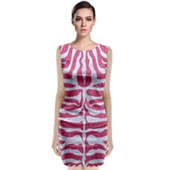 SKIN2 WHITE MARBLE & PINK DENIM Classic Sleeveless Midi Dress
