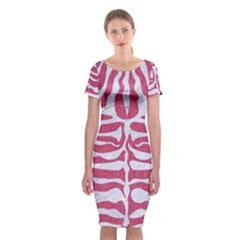 SKIN2 WHITE MARBLE & PINK DENIM Classic Short Sleeve Midi Dress