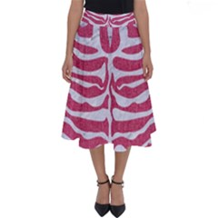 Skin2 White Marble & Pink Denim Perfect Length Midi Skirt by trendistuff