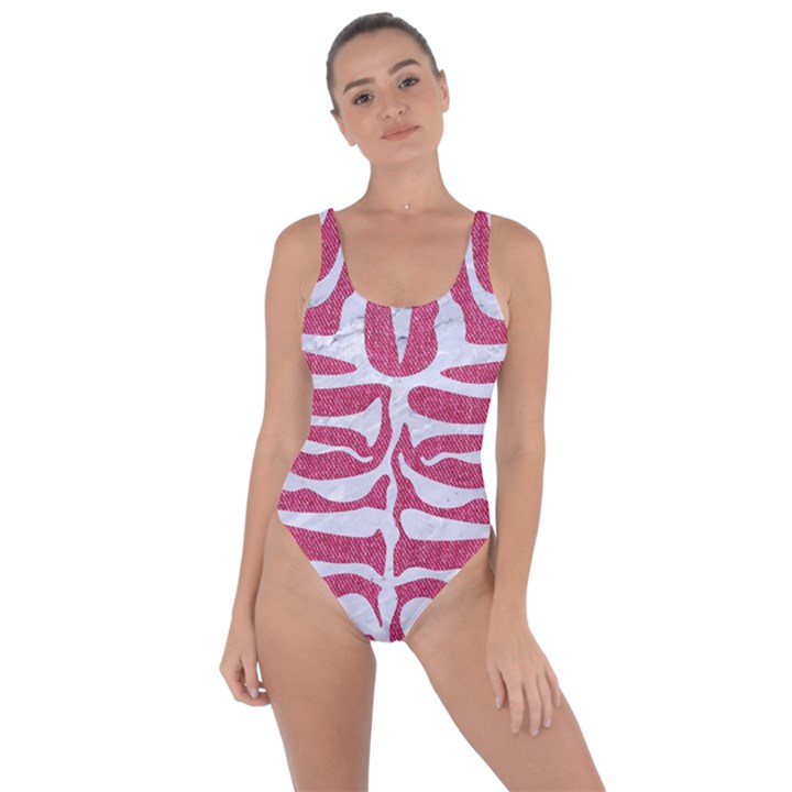 SKIN2 WHITE MARBLE & PINK DENIM Bring Sexy Back Swimsuit