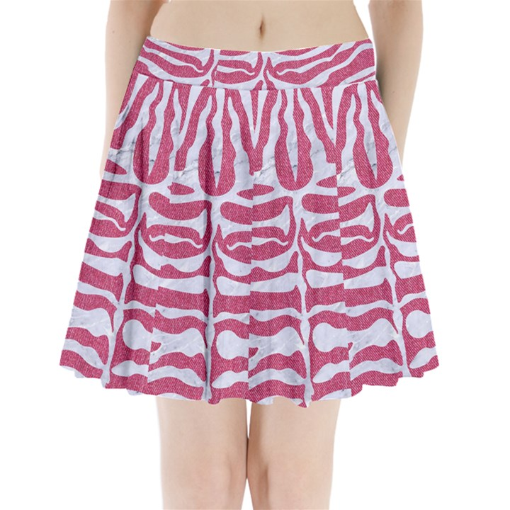 SKIN2 WHITE MARBLE & PINK DENIM Pleated Mini Skirt