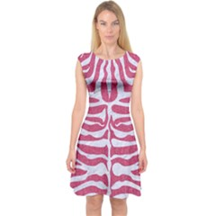 Skin2 White Marble & Pink Denim Capsleeve Midi Dress
