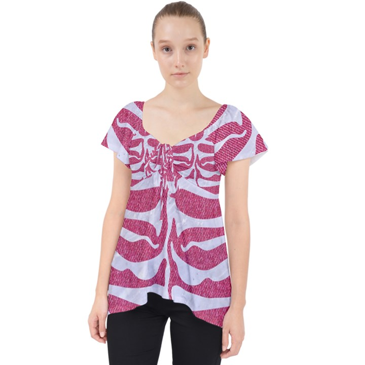 SKIN2 WHITE MARBLE & PINK DENIM Lace Front Dolly Top