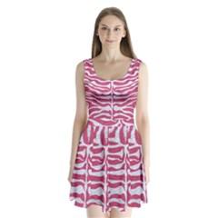 SKIN2 WHITE MARBLE & PINK DENIM Split Back Mini Dress