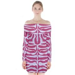 Skin2 White Marble & Pink Denim Long Sleeve Off Shoulder Dress