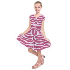 SKIN2 WHITE MARBLE & PINK DENIM Kids  Short Sleeve Dress